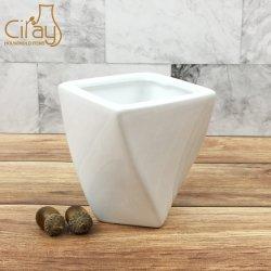 Pequeño Blanco vidriado de la sembradora de cerámica trenzado