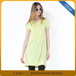 Custom 95% Rayon 5% Spandex mulheres básicos camisola T em branco