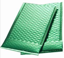 Bolsos verdes metálicos del regalo del envío de la burbuja