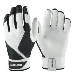 白いカラー耐久の柔らかいヤギの皮の革ソフトボールの手袋メンズレディース野球のバッティング・グローブ