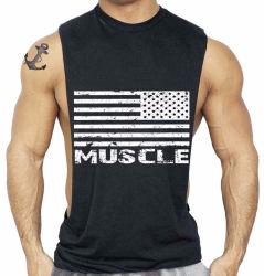 Parte superiore di serbatoio casuale di ginnastica del muscolo della maglietta giro collo degli uomini su ordinazione del commercio all'ingrosso