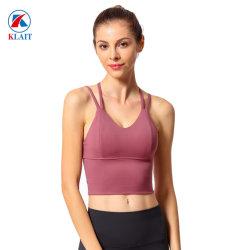 Reizvolles Strappy Trainings-Kleidungs-Frauen-Eignung-Großhandelskreuz-rückseitiger laufender nahtloser Sport-Büstenhalter