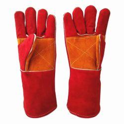 Guantes de cuero de color rojo de los hombres de la soldadura Guantes de trabajo