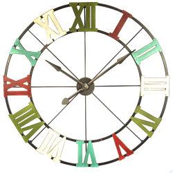 Relógio de fio metálico com números romanos multi colorido