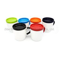 12 Oz céramique blanche tasse à café avec poignée colorée et le couvercle intérieur