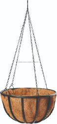 Verdrehter Eisen-Draht-hängender Korb für die Blume, die mit Coco-Zwischenlage und Kette (Xy01405, pflanzt)