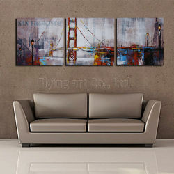 Barrier kind Furniture Group oil Painting with Bridge for Home Decoration
