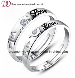 Les amateurs de Valentin cadeau de Noël les anneaux de mariage de l'argent de l'éternité la promesse de l'amour toujours deux anneaux de cristal