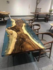 실물 월넛 우드 레진 리버 비치 홈에서 식사테이블/사무소를 이용하세요 책상 위