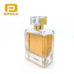 Fábrica china vender vacío 100ml Perfume de lujo Chanel Dior Cristal botella con la etiqueta de Metal Rosa Deboss vidrio biselado cristal antiguo botellas de perfume