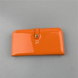 오렌지에 있는 에나멜 가죽 지갑 명함통 지갑 펜 홀더