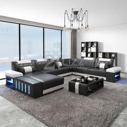 Salão de couro seccional moderna sala de estar em casa sofá de canto conjunto de móveis com iluminação de LED mesa de café e suporte para TV