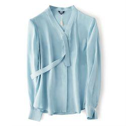 2020 moda blusas bellas damas de manga larga para las mujeres de la fábrica de ropa casual Damas Blusas Camisa de seda OEM