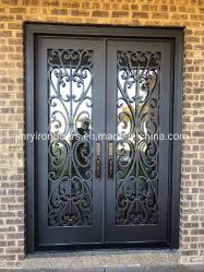 Главный вход передние двойные двери Custom стороны поддельные двери из кованого железа