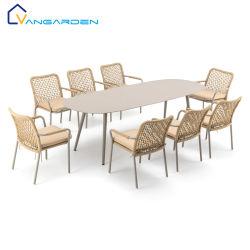 Vangarden Rope Aluminum Patio Garden 실외 가구 식당 테이블 및 의자 세트