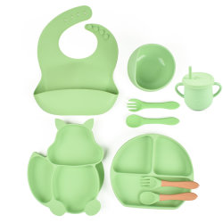 Baby vaisselle Set Bavoir silicone Plaque de silicone joint silicone bol avec une cuillère Jeu d'alimentation 9 PC d'un jeu