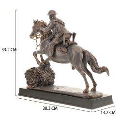 Gros en Chine usine grand bronze sculpture en résine terminé Light Horse Craft avec Soldier