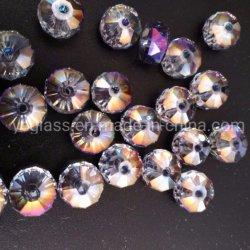 Ronda planas facetadas de Cristal AB Hilos de perlas de vidrio