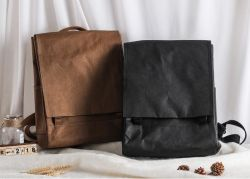 Материал RPET рюкзак с крафт-бумаги и провод фиолетового цвета кожи Daypack рюкзак рюкзак города поездки в рюкзак для школы отделение выделяется на фоне выделяется на мужчин и женщин