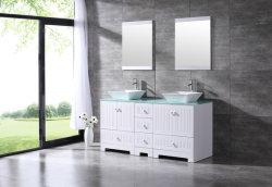 """El doble de 60"""" El cuarto de baño de la vanidad de PVC de vidrio templado de la parte superior de madera armario con espejo/ &grifo"""