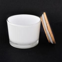 Vela de vidrio blanco negro mate frasco con tapa de madera