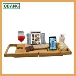 Banheira Caddy Bandeja com porta-Vinho Livro ajustável com tecido impermeável, extensível a não deslizar os lados 2 Toalha de banho de placa removível Organizer