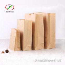 Sacco di carta del pranzo del sacco di carta del pane del commestibile di prezzi di costo di alta qualità con il marchio stampato