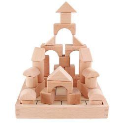 Les enfants du préscolaire des blocs en bois naturel Case jouets (GY-W0003)