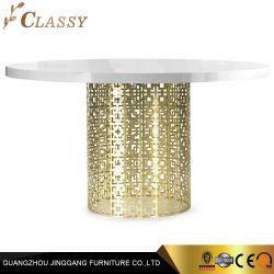 Vidrio de mármol blanco moderna mesa de comedor redonda con el metal base de acero inoxidable