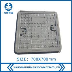 coperchio di botola quadrato composito di 700X700mm FRP/GRP con gli anelli di tiro