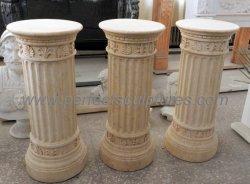 Garten-dekorative ägyptische beige Marmorspalte-Pfosten für Hauptdekoration (QCM234)