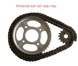Titan150 428-108L 43T-16T モーターサイクルチェーン & スプロケットセット