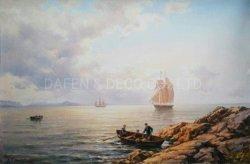Pintura a óleo de recreio de barco à vela