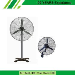 650mm parede industriais cair e ventilador de pedestal com base transversal e 3PCS lâminas de metal