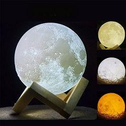 3D Mond-Lampe des Druck-LED, Mondtisch-Schreibtisch-glühendes Nachtlicht mit hölzernen Farben der Standplatz-Noten-Änderungs-3