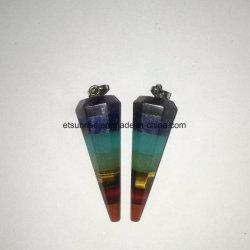 Semi Pedras Preciosas Cristal Natural Chakra Cone multifacetada pendente do Pêndulo