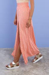 Nieuwe Rayon Lady Stripe High-split Maxi Long rok