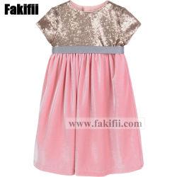 2018 Enfant Fashion Sequin Robe en velours rose Bébé Vêtements tricotés
