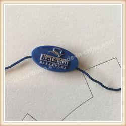 Ropa de diseño de logotipo personalizado y el sello de plástico con una cuerda de la etiqueta