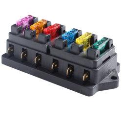 Coche 12V-24V circuito de 6 vías cuchilla estándar titular de la caja de fusibles