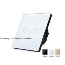 Interruttore universale del sensore di tocco di EU/UK, 110-220V, interruttore chiaro della parete impermeabile di modo del gruppo 1 del comitato 2 di cristallo