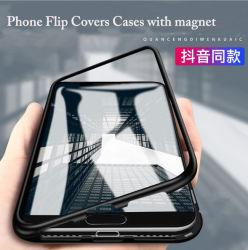 Het slanke Geval van de Telefoon van het Glas van het Frame van het Metaal Mobiele met de Dekking van de Tik van de Magneet voor iPhone X van de Appel