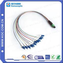 12 color de 0,9 mm cable de fibra óptica con conectores MPO y convergencia de salida LC