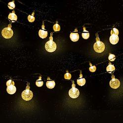 Led boule de cristal 5m/10m lampe solaire LED de puissance solaire des feux de fée de chaîne de guirlandes de Noël pour l'extérieur jardin décoration