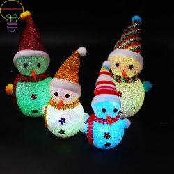 LED beleuchtet Spielzeug-Puppe-Weihnachtsgeschenke der WeihnachtsSchneemann-bunte Kristallkorn-WeihnachtsSchneemann-Nachtlampen-LED leuchtende für Kinder