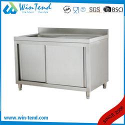 Matériel de cuisine en acier inoxydable armoire table de travail avec évier bol