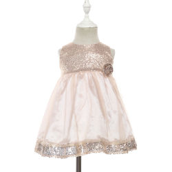 Les enfants vêtement Toddler partie Frock Gold Sequin robes fille fleur