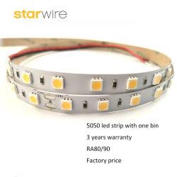 60 LEDs/M (12V/24C、1.5W/m)のSMD5050適用範囲が広いLEDのテープかストリップ