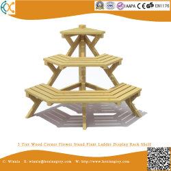 Canto de madeira de 3 níveis de suporte de Flores Prateleira Rack de Exibição da Escada da fábrica