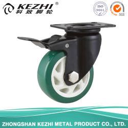 Mh4 Med-Heavy direito fixado/Giratório/Tipo de freio do rolamento de esfera dupla do Rodízio de Roda de poliuretano preto